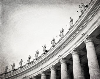 Vatican Statues, Rome Photography, Black and White, St. Peter's Square, Travel Photo, Italy, Europe, Architecture, Wall Art, Home Decor