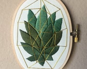 Succulent cactus hand embroidered in gold geometric terrarium, 3x5 inch embroidery oval hoop