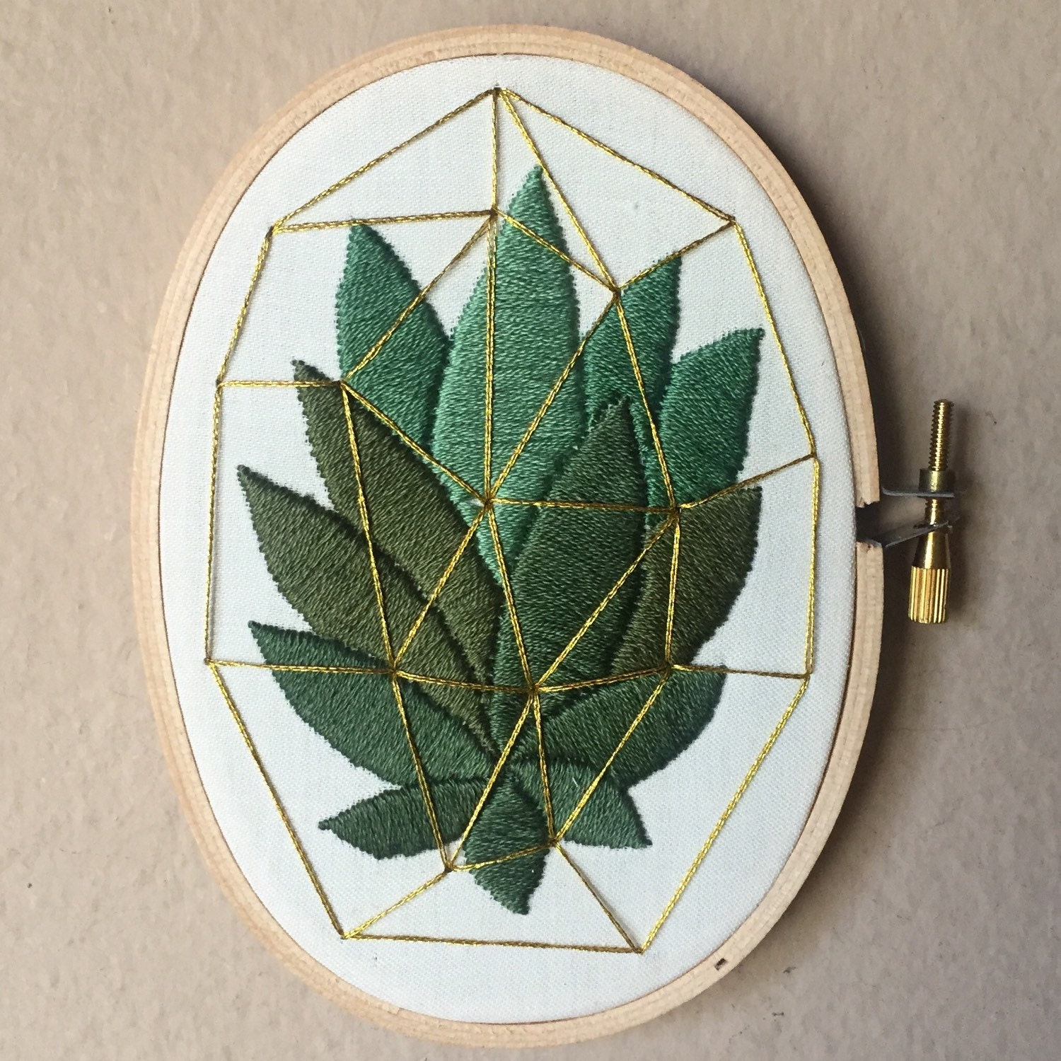 Succulent cactus hand embroidered in gold by moonrisewhims