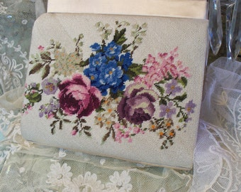 Antique French Floral Tapestry Purse Circa 1940's