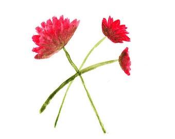 "Red Flower Art: 6"" x 6"" Watercolor Painting - Red Watercolor Art - Red Watercolor Painting - Red Wall Art - Flower Wall Art - Original Art"