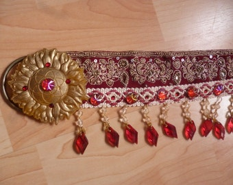 Red and gold tribal bellydance belt