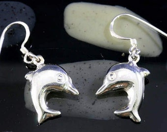 Dolphins,earrings, 925 sterling silver  --  1301
