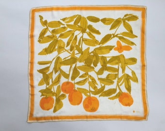 Vintage Vera Silk Scarf with Fruit Motif