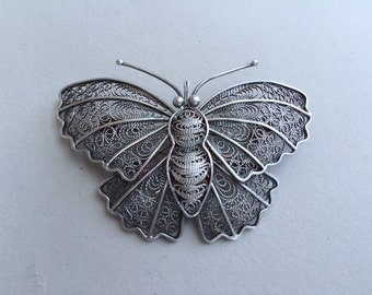 Silver Filagree Butterfly Pin