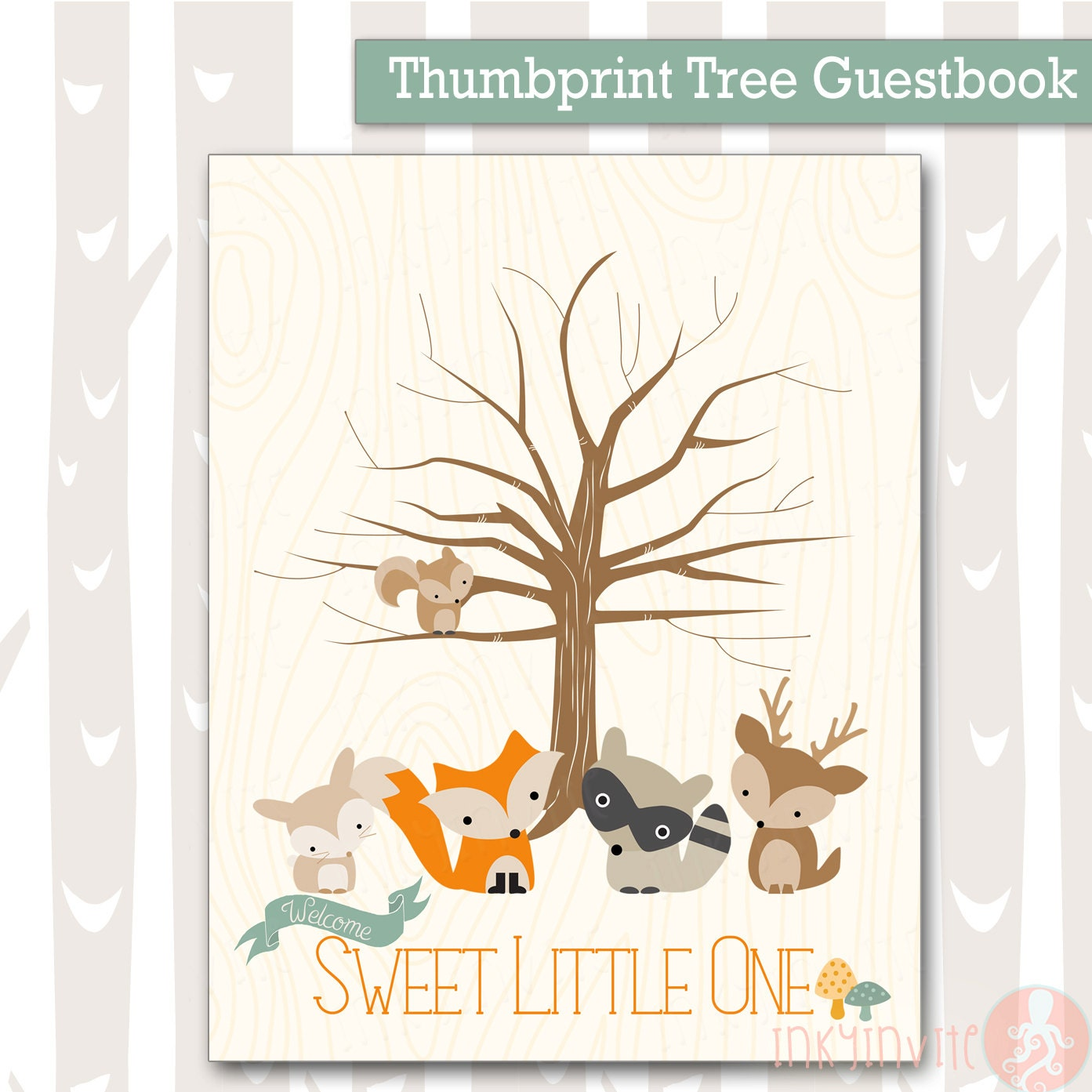 Sweet Woodland Baby Shower Thumbprint Tree Forest Friends