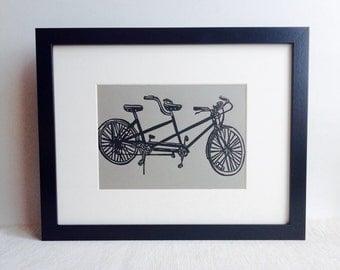 "Tandem Bicycle handmade linocut print, 5x7"" gravel gray (unframed).  Home decor, apartment decor, Valentine's Day gift, birthday gift"