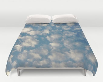 POPCORN CLOUDS   Duvet Cover   Photo Sky Clouds Blue White Double/Queen/King  Bedding Home and Living Bedroom Bed Home Decor