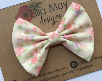 Baby Girl, Toddler, Girls Ivory Light Pink Floral Fabric Bow