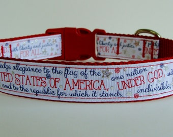 Pledge of Allegiance Dog Collar - Red - Ready to Ship!