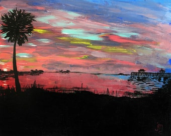 Deep Pink Sunset by J. Travis Duncan - Acrylic Coastal Sunset - Palm and Pier 8x10 Canvas Panel Painting - South Carolina Sunset - panoplei