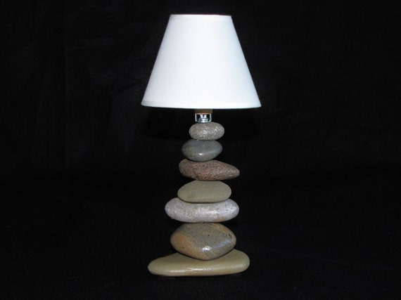 Mini Rock Lamp With Lamp Shade In Cairn Style Stacked Rock