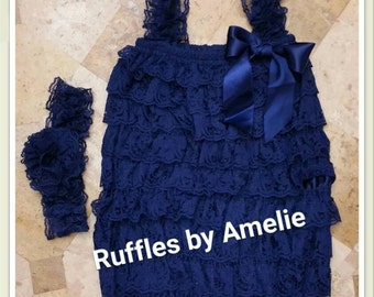 Lace Petti Romper & Lace Headband in Navy Blue - Baby Lace rompers - 31 COLORS - Size NB to 12M. Ready to Ship.