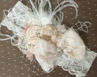 Blush and Ivory Headband (made to match a dollcake dress) Blush Bow