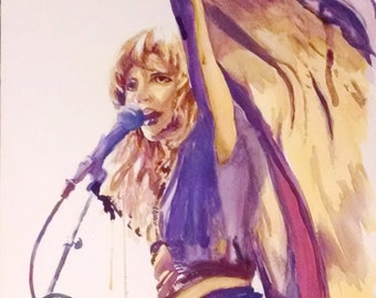 watercolor painting print Stevie Nicks portrait, art print Fleetwood Mac, gold dust woman, classic rock, music art, musician watercolour