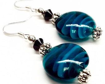 Sale was 18: Women's Aqua Lampwork earrings. Swarovski crystal earrings. Silver earrings. Boho earrings. Lampwork glass. earrings. Aqua.