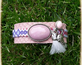 Pink leather bracelet friendshipbracelet in Ibiza Bohemian Gypsy style