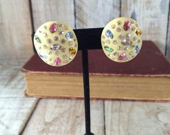 Weiss Clip Earrings - Weiss Clip On Earrings - Plastic Clip Ons - Cluster Clip Earrings - Colorful Clip Ons - Rhinestone Clip Ons
