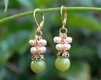 Lime Jade Cluster Earrings.Freshwater Pearls.Bead Cap plated in 24k Gold.Dangle.Drop.Bridal.Mother's Valentine.Holiday.Gift. Handmade.