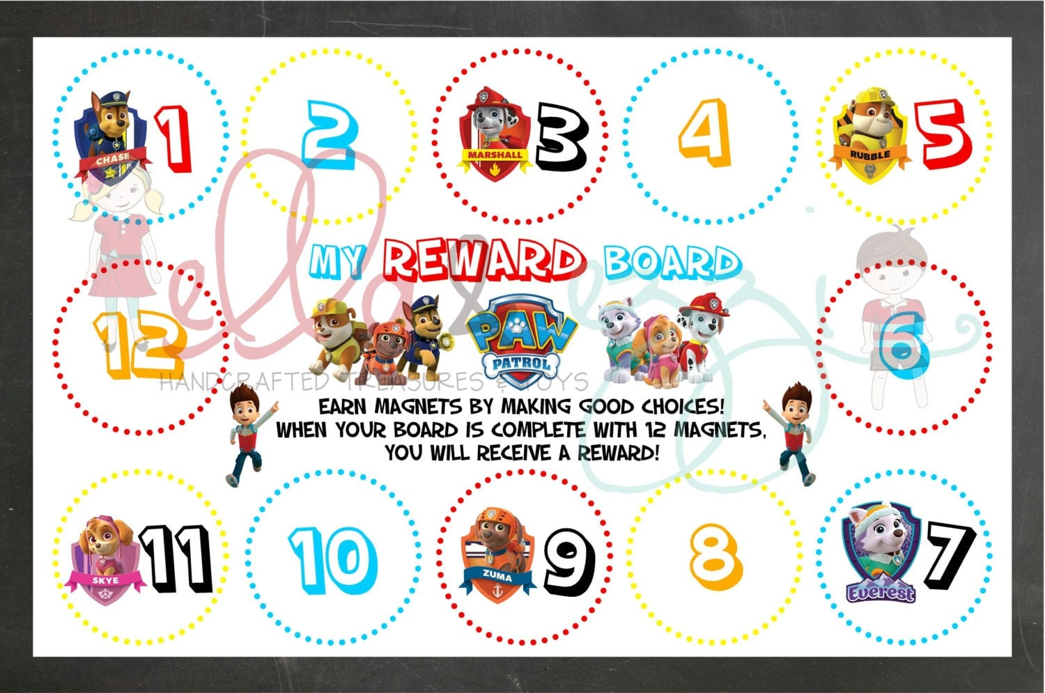 Reward Chart Printable Paw Patrol Reward Chart Instant