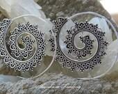 Spiral Hoop Earrings, White Brass Tribal Earrings, Hoop Earrings, Gypsy Hoop Earrings, Tribal Brass Earrings, Belly Dance Jewelry