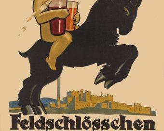 German Drink Advertisment Poster Bock Beer Giclee Print