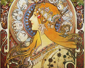 Art Nouveau Poster Zodiac by Mucha Home Decor Wall Decor Giclee Art Print Poster A4 A3 A2 Large Print FLAT RATE SHIPPING