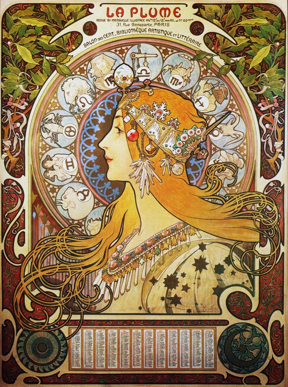 Art Nouveau Poster Zodiac By Mucha Home Decor Wall Decor