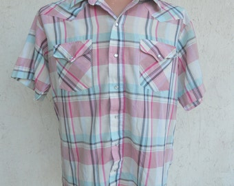 70s 80s Men's Western Shirt Pearl Snaps Pink Plaid by Panhandle Slim Size 17