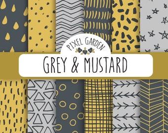 Hand Drawn Digital Papers.  Mustard and Grey Doodle Scrapbooking Papers. Charcoal Geometric Doodle Pattern. Hand Drawn Fall Digital Paper.