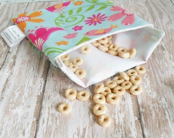 lunch bag for girls-  reusable snack bag - cute lunch baggies for girls - snack pouch for school - kids lunch bags -girls lunch bag