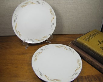 Mita Fine China Bread and Butter Plates - Set of Two (2) - Made in Japan - Gold and Silver Wheat