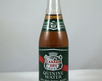 Vintage Canada Dry Quinine Water 12 oz  Bottle, Unopened with Original Cap & Contents