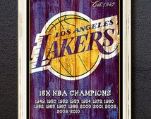 LA Lakers Big Bold art print. Great mancave gift for Lakers fan! Big 11x16 inches in size