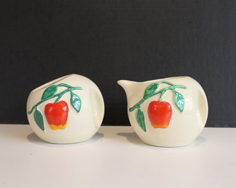 Vintage American Bisque Company, Pippin Apple, Open Sugar and Creamer, Ceramic Pottery, Apples, Art Pottery (C015)