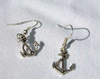 Silver Tone Anchor Earrings
