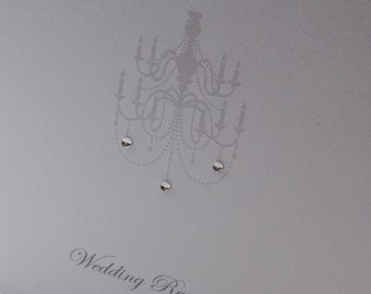 Silver Chandelier Wedding Invitations with Rhinestones