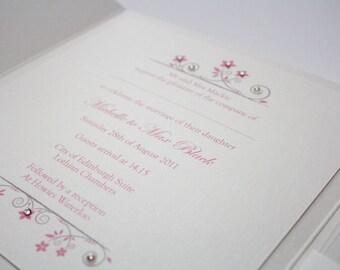 Ivory & Pink Vintage Style Flat Card Wedding Invitation