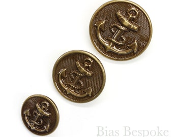 Sets of Handsome Antique Brass Anchor Buttons in Three Sizes, Made in France