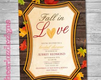 Fall in Love Bridal Shower Invitation- Custom, Digital File