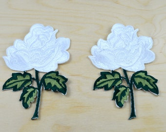 2 Classically Gorgeous Embroidery White Rose Applique, White Rose Patch with Iron-on Backing
