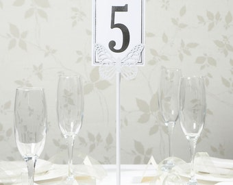 Wedding Table Number Holder Metal White Butterfly
