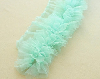 Light Green Shabby Rose Trim Tulle Flower Lace Skirt Trim 3.93 Inch Wide 1 Yard X090