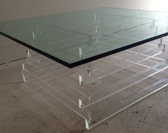 Mid Century Modern Lucite Stacked Coffee Table
