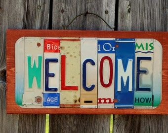 WELCOME Upcycled License Plate Sign