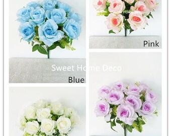 JennysFlowerShop 15'' One Dozen Sweetheart Rose Silk Artificial Bouquet (12 Stems/12 Flower Heads)(valentine's Day/wedding/home Decor)