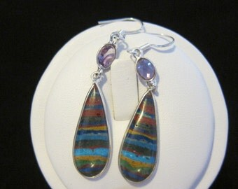 Rainbow Calsilica  Amethyst Sterling Silver Earrings (80)