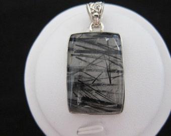 Tourmalated Quartz (Black Rutle) Sterling Silver Pendant (174)