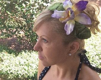 Tropical Velvet flower on Hair Comb