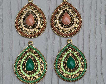 One bohemian vintage style pendants.  Jewelry supplies.  Bohemian findings.  Jewelry findings. Unique findings.  Findings and supplies.